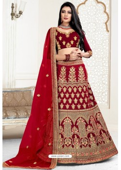 Crimson Exclusive Party Wear Velvet Bridal Lehenga Choli