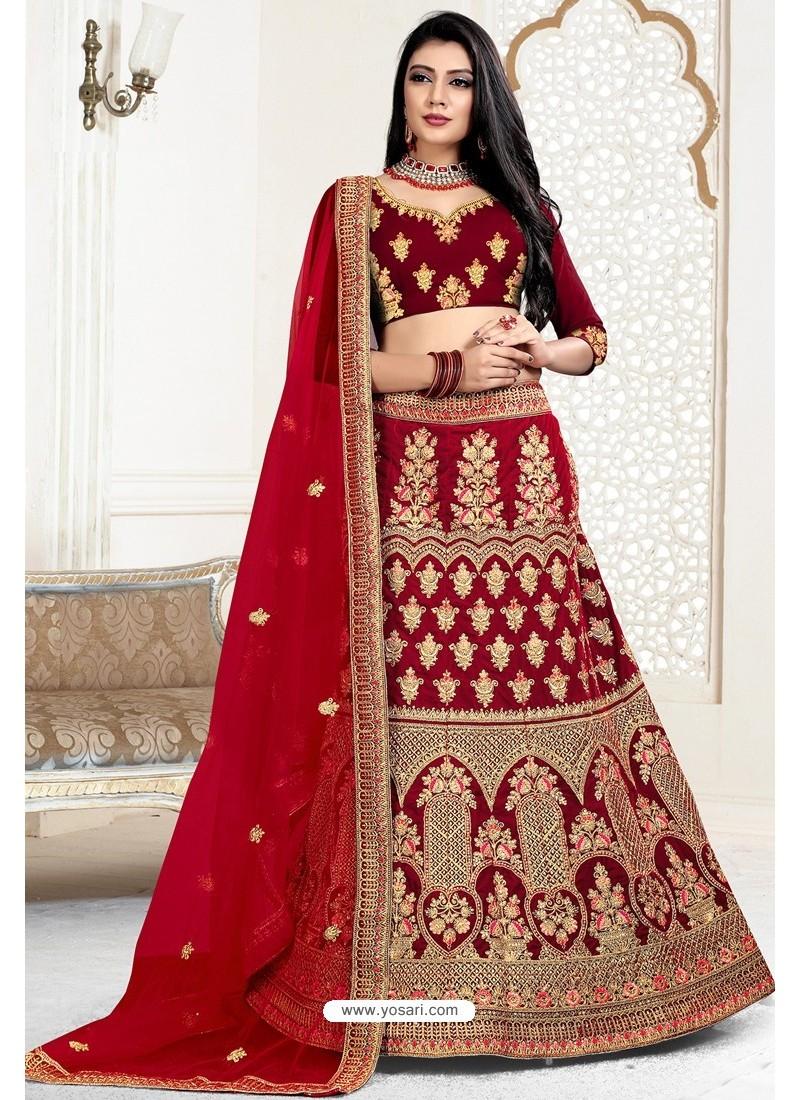 Crimson Exclusive Party Wear Velvet Bridal Lehenga Choli