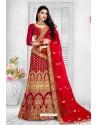Wine Exclusive Party Wear Velvet Bridal Lehenga Choli
