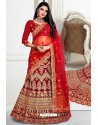 Maroon Exclusive Party Wear Velvet Bridal Lehenga Choli