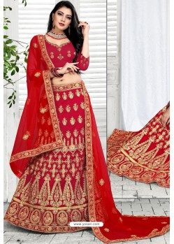 Red Exclusive Party Wear Velvet Bridal Lehenga Choli