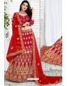 Red Exclusive Party Wear Velvet Bridal Lehenga Choli