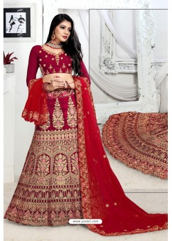 Maroon Exclusive Party Wear Velvet Bridal Lehenga Choli