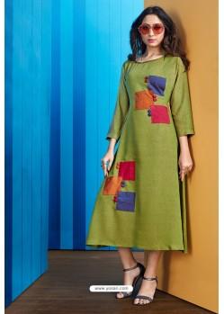 Green Readymade Rayon Designer Party Wear Kurti