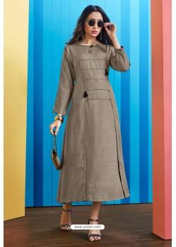 Grey Readymade Rayon Designer Party Wear Kurti