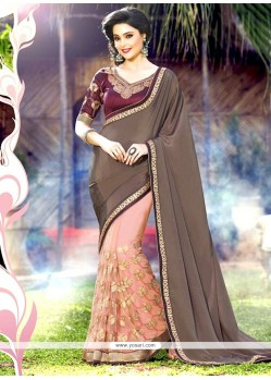 Enthralling Grey And Pink Patch Border Work Faux Chiffon Half N Half Saree