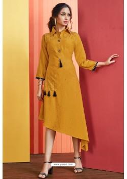 Mustard Readymade Rayon Designer Party Wear Kurti