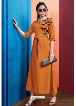 Orange Readymade Rayon Designer Party Wear Kurti