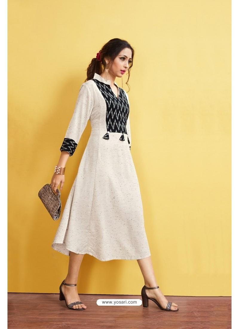 Off White Readymade Rayon Designer Party Wear Kurti