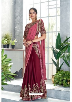 Rose Red Embroidered Designer Party Wear Sari