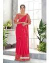 Dark Peach Embroidered Designer Party Wear Sari