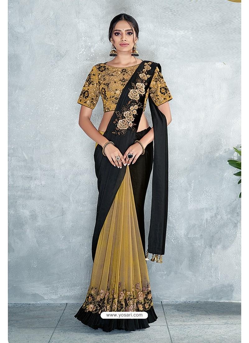 Gold Embroidered Designer Party Wear Sari