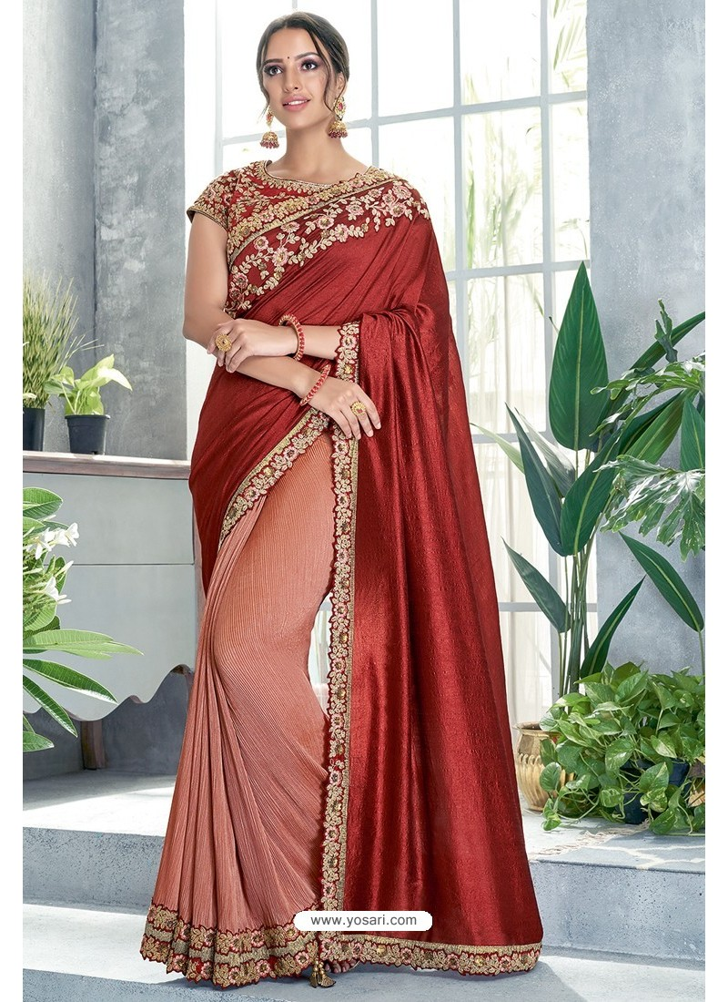 Light Red Embroidered Designer Party Wear Sari