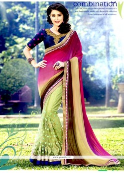 Glitzy Faux Chiffon Sea Green Embroidered Work Half N Half Designer Saree