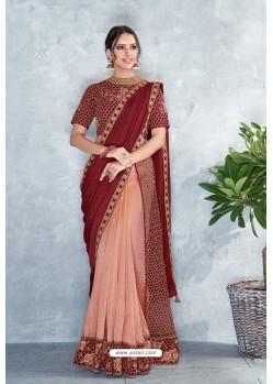 Maroon Embroidered Designer Party Wear Sari