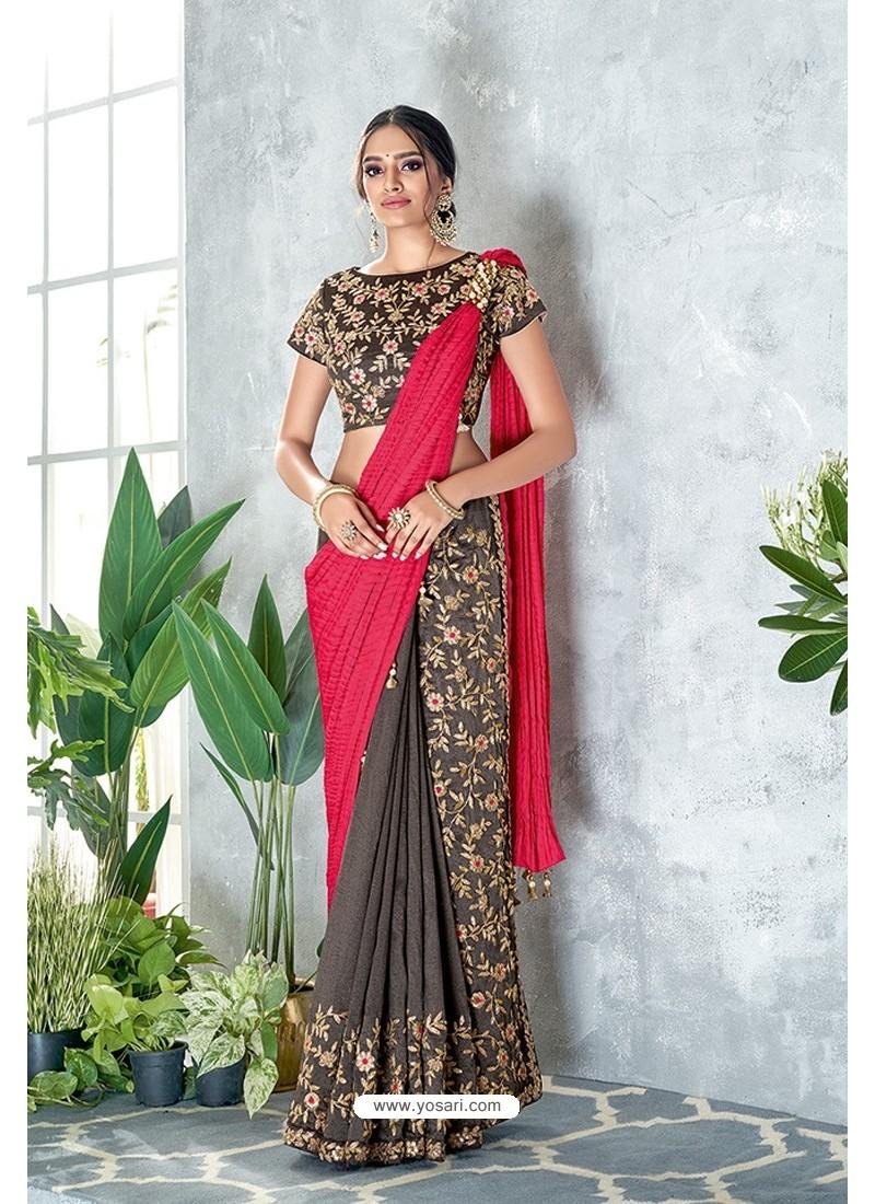 Grey Embroidered Designer Party Wear Sari