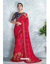 Red Embroidered Designer Party Wear Sari