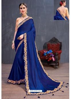 Royal Blue Soft Silk Embroidered Designer saree