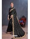 Black Soft Silk Embroidered Designer saree