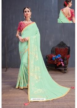 Sea Green Soft Silk Embroidered Designer saree