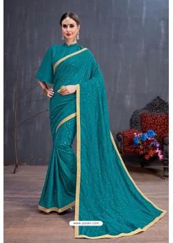 Teal Soft Silk Embroidered Designer saree