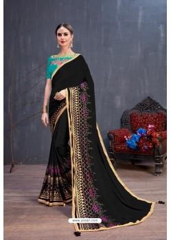 Pretty Black Soft Silk Embroidered Designer saree