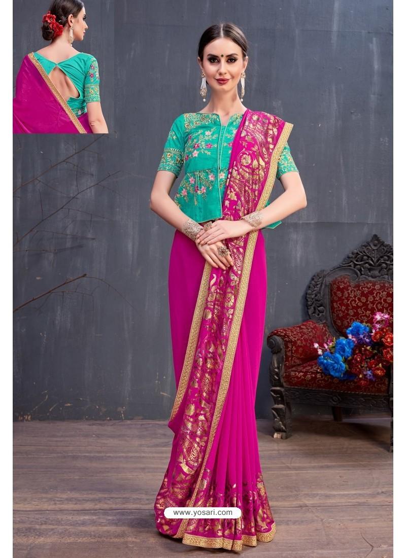 Rani Soft Silk Embroidered Designer saree