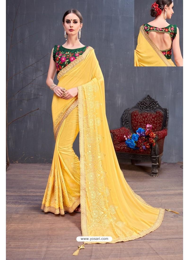 Yellow Soft Silk Embroidered Designer saree