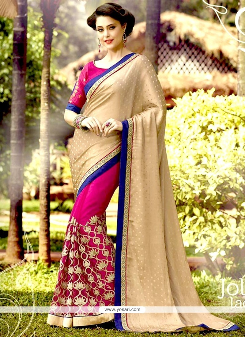Deserving Net Resham Work Half N Half Saree