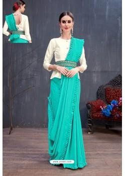 Turquoise Soft Silk Designer saree