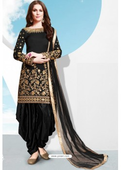 Black Tapeta Silk Stylish Patiala Suit