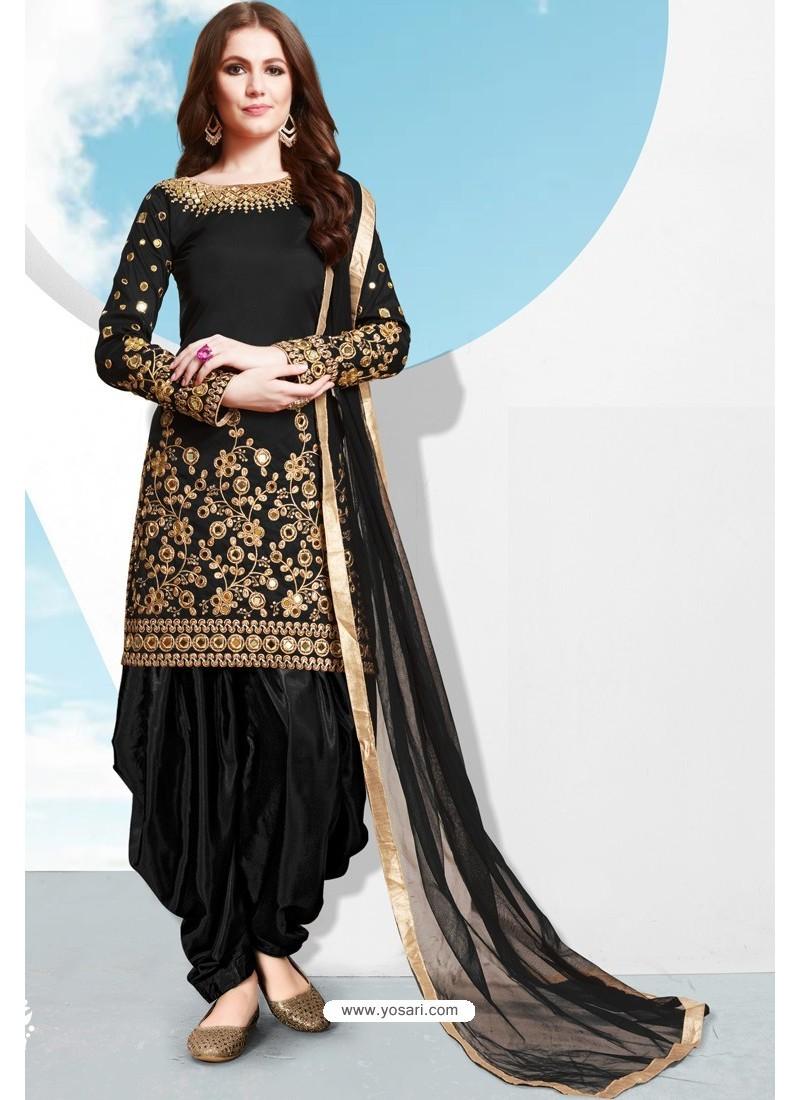 Black Tapeta Silk Stylish Patiala Suit