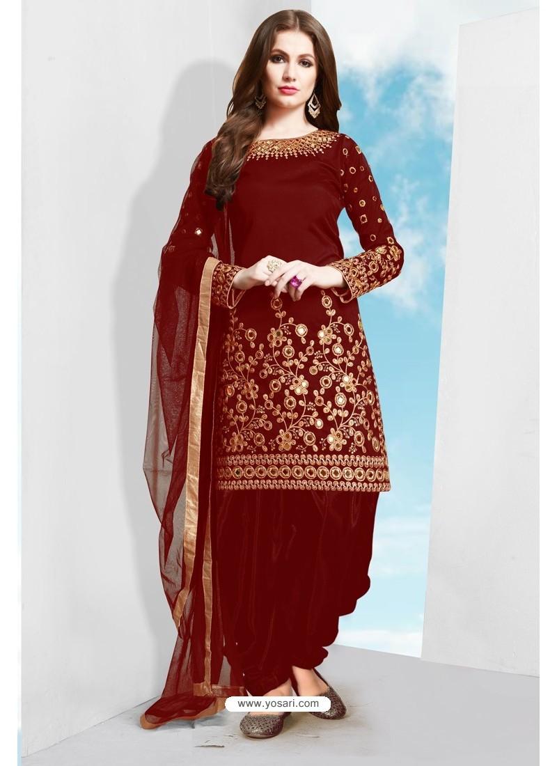 Maroon Tapeta Silk Stylish Patiala Suit