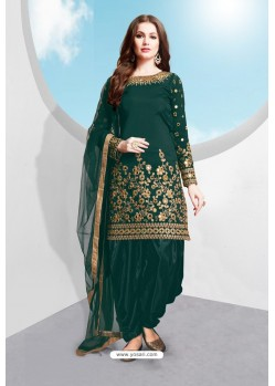 Dark Green Tapeta Silk Stylish Patiala Suit