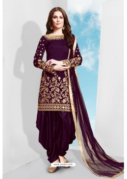 Purple Tapeta Silk Stylish Patiala Suit