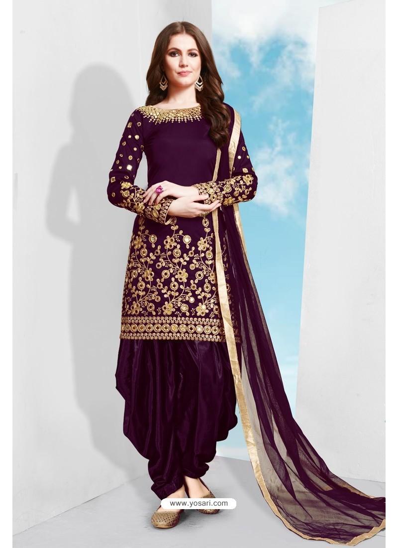Purple Tapeta Silk Stylish Patiala Suit