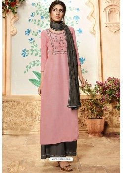 Pink Viscose Rayon Embroidered Palazzo Suit