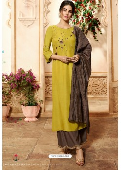 Corn Viscose Rayon Embroidered Palazzo Suit
