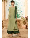 Olive Green Viscose Rayon Embroidered Palazzo Suit