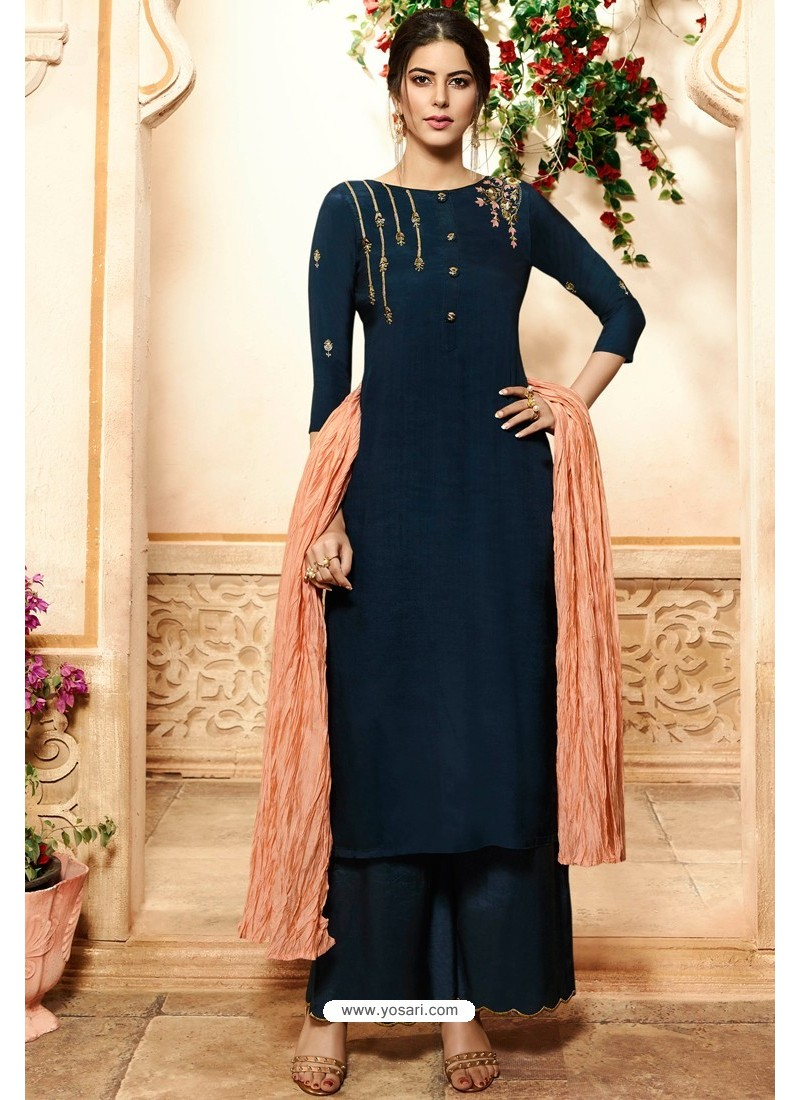 Navy Blue Viscose Rayon Embroidered Palazzo Suit