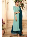 Sky Blue Viscose Rayon Embroidered Palazzo Suit