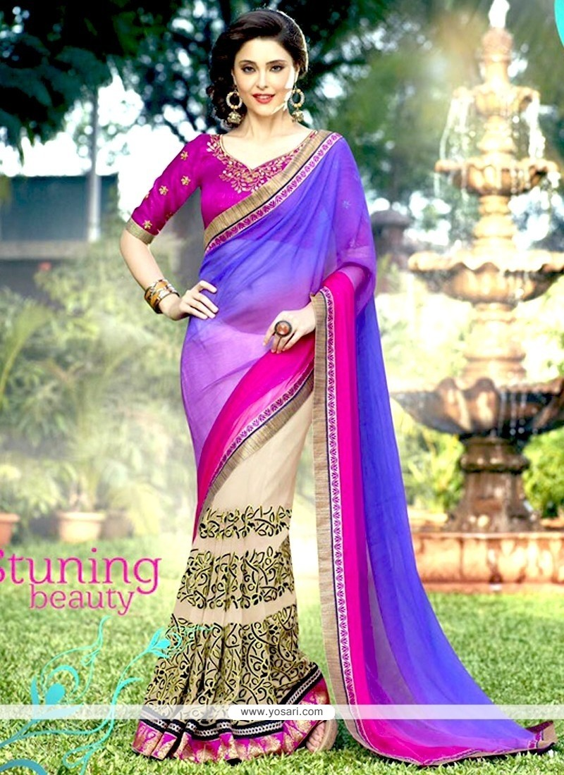 Amusing Embroidered Work Half N Half Designer Saree