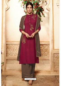 Deep Wine Viscose Rayon Embroidered Palazzo Suit
