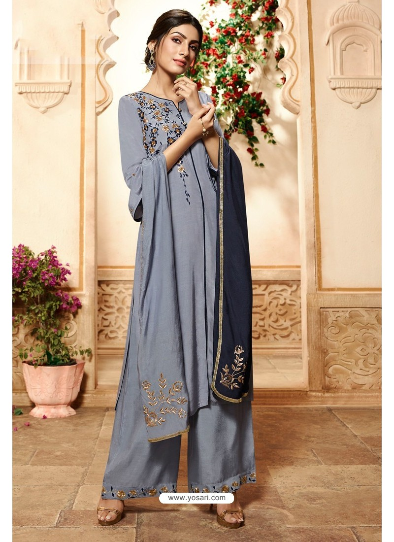 Pigeon Viscose Rayon Embroidered Palazzo Suit