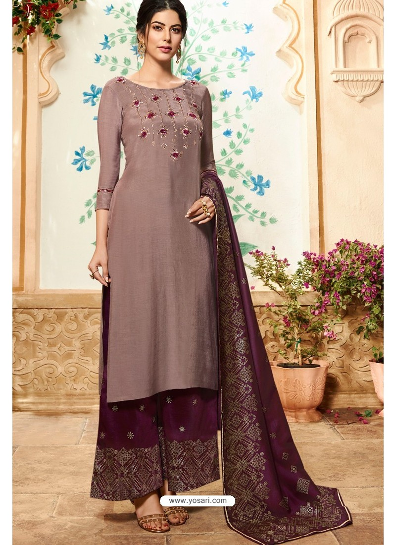 Old Rose Viscose Rayon Embroidered Palazzo Suit