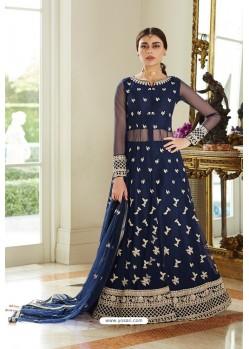 Navy Blue Butterfly Net Designer Anarkali Suit
