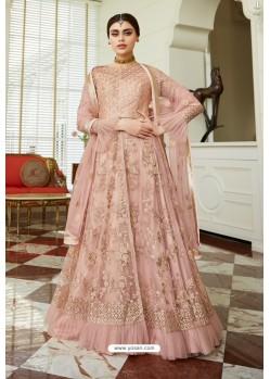 Baby Pink Butterfly Net Designer Anarkali Suit