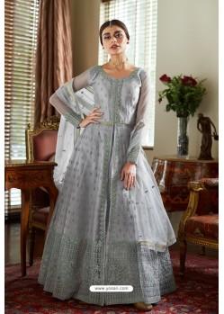 Light Grey Butterfly Net Designer Anarkali Suit