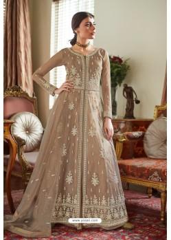 Beige Butterfly Net Designer Anarkali Suit