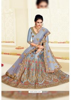 Aqua Grey Designer Heavy Embroidered Satin Silk Lehenga Choli